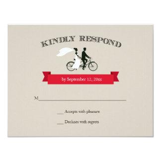 "Tandem Bicycle Vintage Wedding RSVP 4.25"" X 5.5"" Invitation Card"