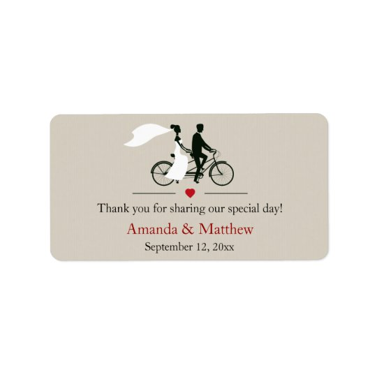 Tandem Bicycle Wedding Favour Labels