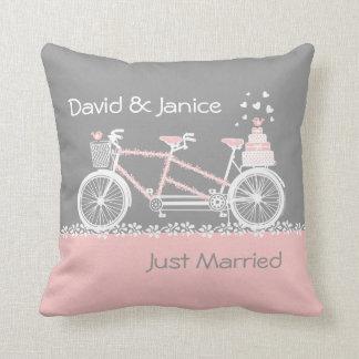 Tandem Bicycle Wedding Keepsake Pillow