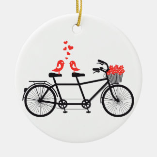tandem bicycle with cute love birds ceramic ornament