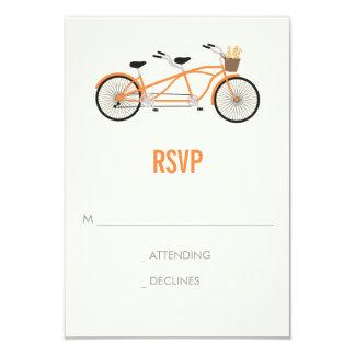 Tandem Bike Wedding RSVP - Orange Card