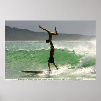 Tandem Surfing at Noosa Poster
