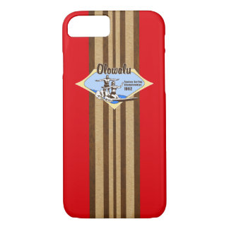 Tandem Surfing Hawaiian Faux Wood Surfboard- Red iPhone 8/7 Case