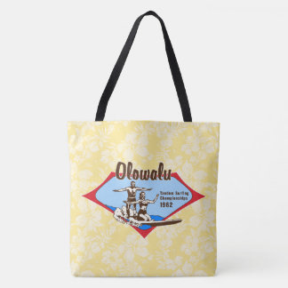 Tandem Surfing Hawaiian Vintage Hibiscus Beach Bag