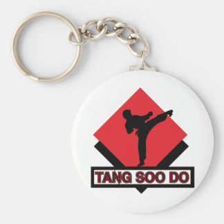 Tang Soo Do red diamond Basic Round Button Keychain