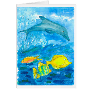 Tang Tropical Fish Dolphin Happy Birthday Card