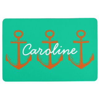 Tangerine Anchors on Caribbean Green Personalized Floor Mat