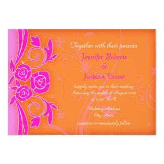 Tangerine and Flaming Rose Modern Wedding Invites