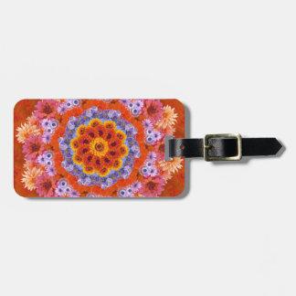 Tangerine and Lavender Kaleidoscope Luggage Tag