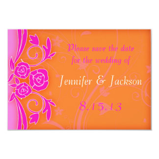 Tangerine and Pink Roses Wedding Save the Date 3.5x5 Paper Invitation Card