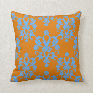 Tangerine and Sky Blue Vintage Damask Style Throw Pillow