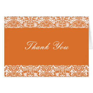 Tangerine and White Damask Thank You Note Card
