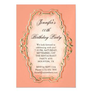 Tangerine Antique Frame & Diamonds Birthday Magnetic Card