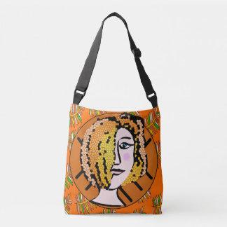 Tangerine Artistic Doodle Cross Body Bag