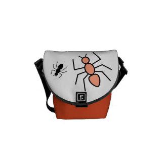 Tangerine & Black Vector Ants Messenger Bags