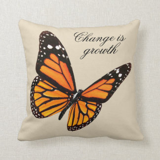 Tangerine Butterfly Throw Pillow
