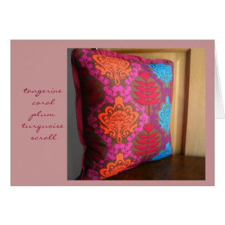 Tangerine Coral Plum Turquoise Scroll Card