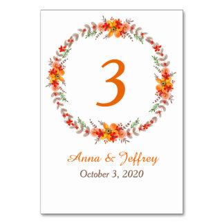 Tangerine Floral Wreath Wedding Table Cards