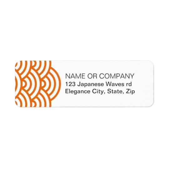 Tangerine Japanese wave return address label