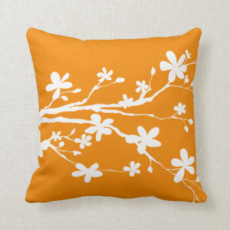 Tangerine Nature Branch Throw Pillow
