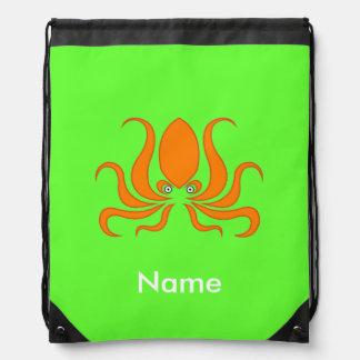 Tangerine Octopus Octopi Personalized Green Drawstring Bag