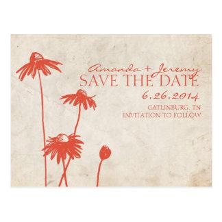 Tangerine Orange Black Eyed Susans Save the Date Postcard