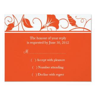 Tangerine Orange Floral Wedding RSVP / Reply Cards