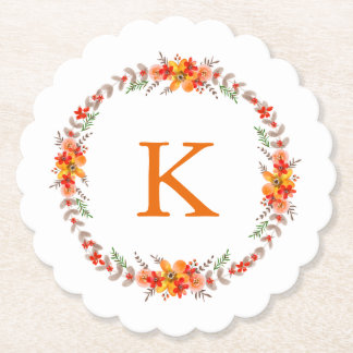 Tangerine Orange Floral Wreath Monogram Wedding Paper Coaster