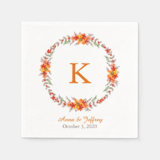 Tangerine Orange Floral Wreath Monogram Wedding Paper Napkin