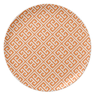 Tangerine Orange Greek Key Pattern Plate