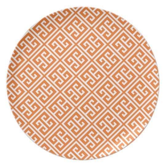 Tangerine Orange Greek Key Pattern Plate