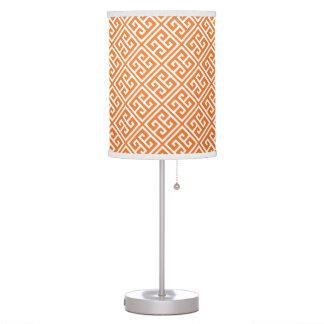 Tangerine Orange Greek Key Pattern Table Lamp