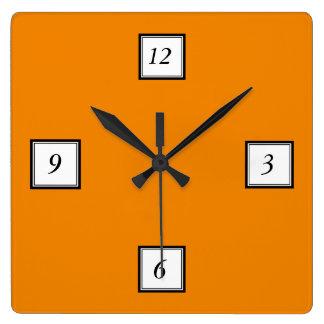 Tangerine Orange High End Colored Square Wall Clock