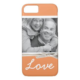 Tangerine Orange LOVE Large Photo Faux Ribbon iPhone 7 Case
