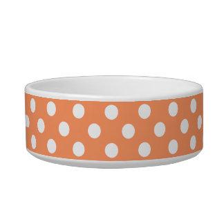 Tangerine Orange Polka Dots Circles Pet Water Bowl