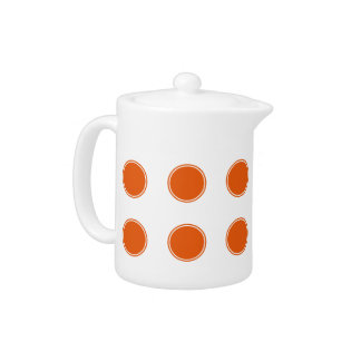 Tangerine Orange Polka Dots on White