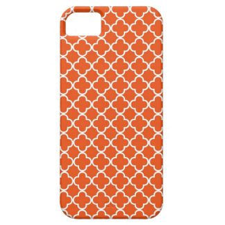 Tangerine Orange Quatrefoil Pattern iPhone 5 Case