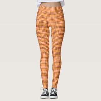 Tangerine Orange Winter Plaid Leggings