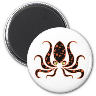 Tangerine Polka Dot Octopus Octopi Magnet