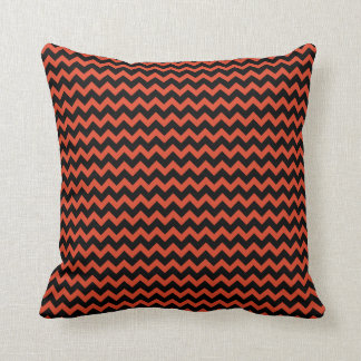Tangerine Red and Black Chevron zigzag Cushion