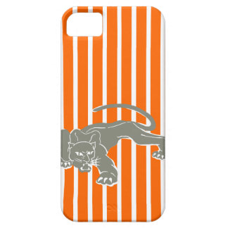 Tangerine Safari Stripe with Leopard Case For The iPhone 5