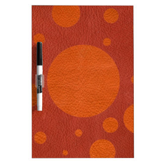 Tangerine Scattered Spots on Coral Leather Texture Dry-Erase Board