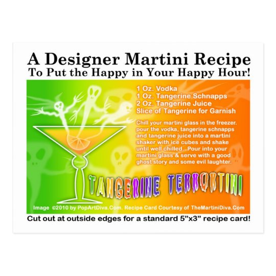 Tangerine Terror Halloween Martini Recipe Postcard