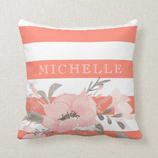 Tangerine | White Floral Personalized Throw Pillow