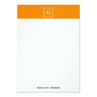 """Tangerine White Framed Initial Monogram 5"""" X 7"""" Invitation Card"""