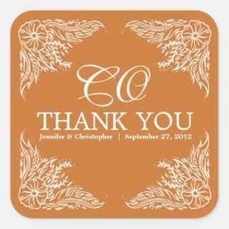 Tangerine & White Wedding Thank You Monogram Square Sticker