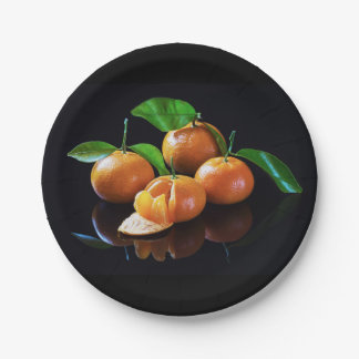 Tangerines On A Black Background 7 Inch Paper Plate