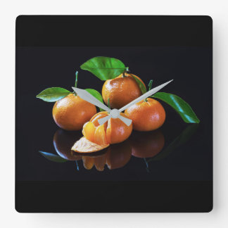 Tangerines On A Black Background Square Wall Clock