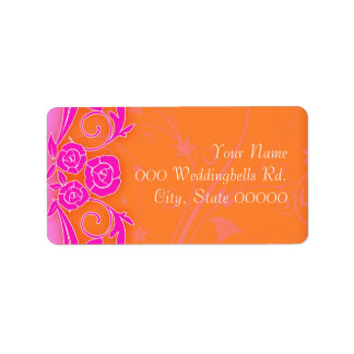 Tangering and PInk Roses Wedding Lables Label
