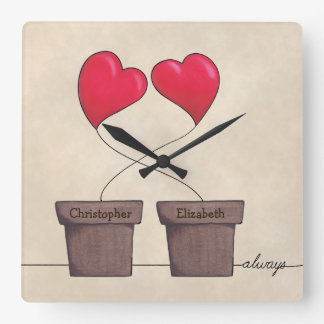 * Tangled Always Potted Hearts Square Wall Clock